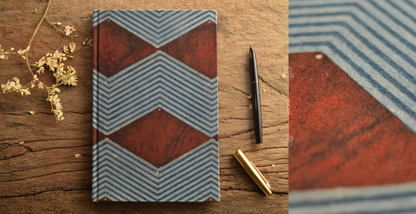 Hand Bound Ajrakh Cover Notebook ~ 04
