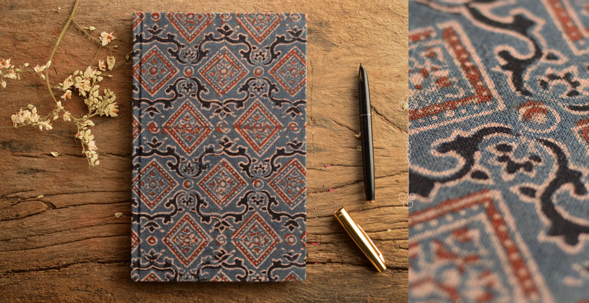 Hand Bound Ajrakh Cover Notebook ~ 05