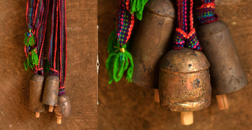 Cow Kutch metal bell - with belt