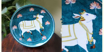 Atasi ⚘ Ocean Cow Blue Pottery Plate ⚘ C