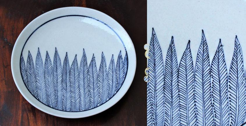 Atasi ⚘ Blue pottery White Leaf Plate ⚘ G