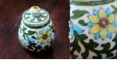 Atasi ⚘ Blue Pottery white Leaf Sugar Pot ⚘ Q