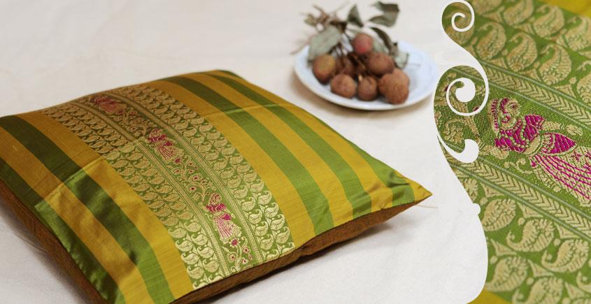 सौमनस   Saumanas ☘ Baluchari Cushion { F } { 16 X 16 inch }