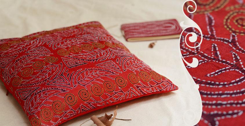 Kantha Cushion Cover - K (16 X 16 inch)