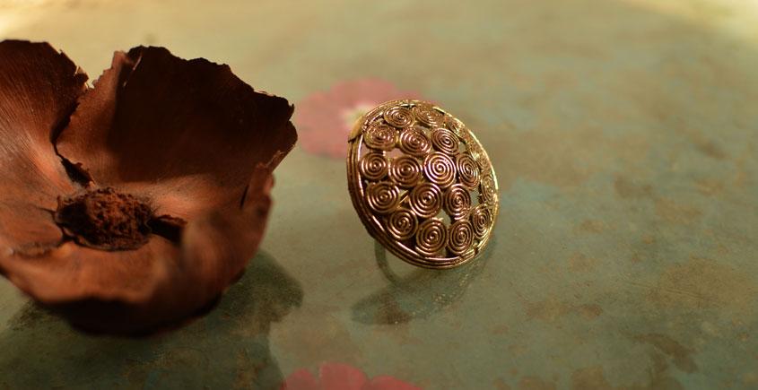 प्रभा ✺ Brass Finger Ring { 17 }