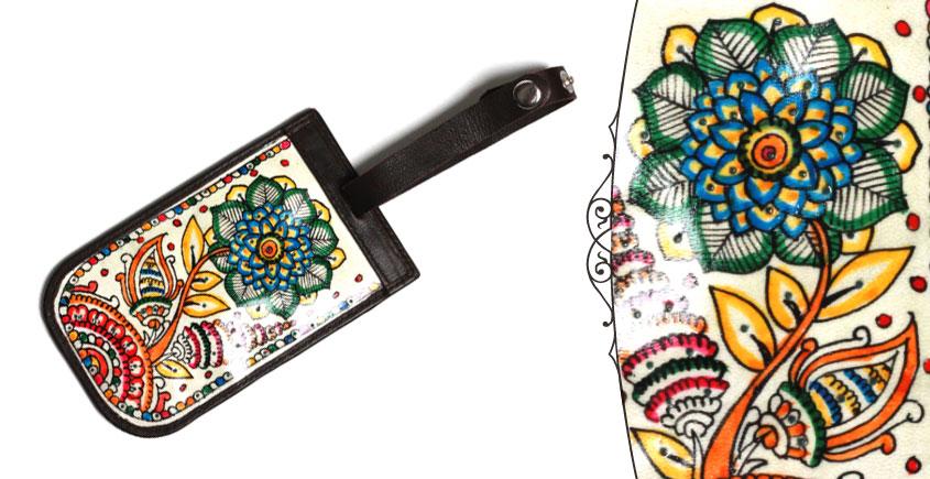 उपवन ~ Leather * Hand Painted { LuggageTags- Pushpa Vatika } - 1