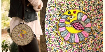 उपवन ~ Leather * Hand Painted { CLUTCH ROUND-MADHUR MAYUR } - 1