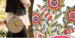 उपवन ~ Leather * Hand Painted { Clutch Round - Mrinal bahar } - 2
