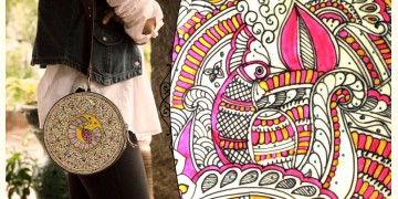 उपवन ~ Leather * Hand Painted { Clutch Round - Madubani Doodle } - 3