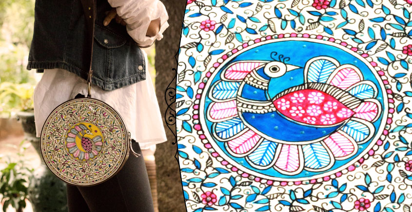 उपवन ~ Leather * Hand Painted { Clutch Round - Mayur Jaal } - 4