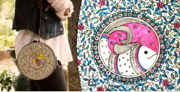उपवन ~ Leather * Hand Painted { Clutch Round - Matsya Jaal } - 5