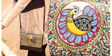 उपवन ~ Leather * Hand Painted { Clutch Madhur Mayur }