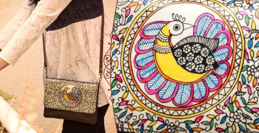 उपवन ~ Leather * Hand Painted { Clutch Madhur Mayur }