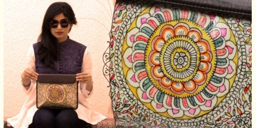 उपवन ~ Leather * Hand Painted { IPad Case madhubani doodle } - 1