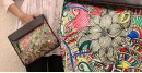 उपवन ~ Leather * Hand Painted { IPad Case madhubani doodle } - 2