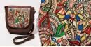 उपवन ~ Leather * Hand Painted { Sling Madhubani doodle } - 1