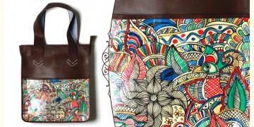 उपवन ~ Leather * Hand Painted { TOTE-MADHUBANI DOODLE } - 3