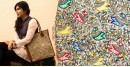 उपवन ~ Leather * Hand Painted { Tote } - 1