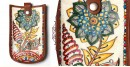उपवन ~ Leather * Hand Painted { Mobile Pouch-Pushpa vatika } - 1