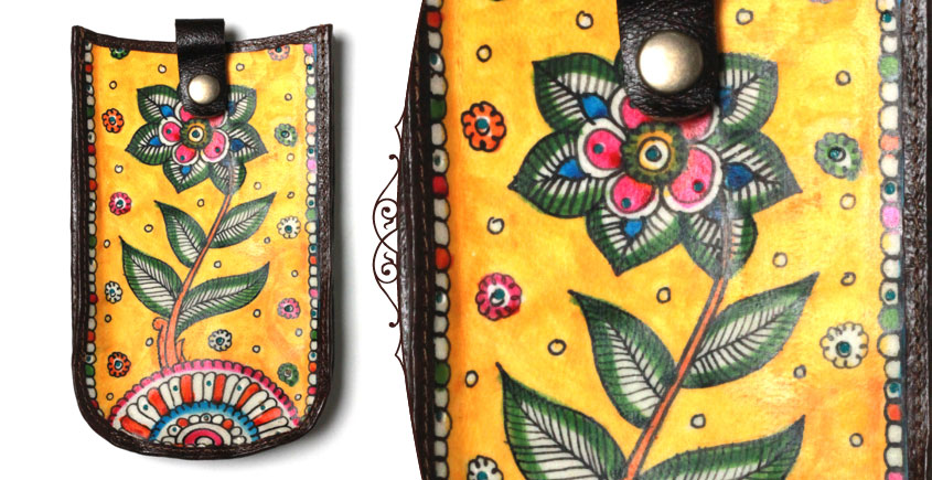 उपवन ~ Leather * Hand Painted { Mobile Pouch-Ek Phool } - 2