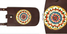 उपवन ~ Leather * Hand Painted { Mobile Pouch-Pusph Kendra } - 3