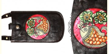 उपवन ~ Leather * Hand Painted { Mobile Pouch-Pusph Kendra } - 8