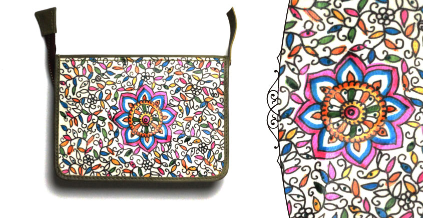 उपवन ~ Leather * Hand Painted { Passport wallet-Pusph Jaal } -1