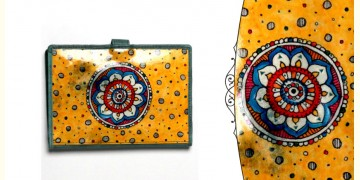 उपवन ~ Leather * Hand Painted { Passport wallet-Pusph kendra } - 2