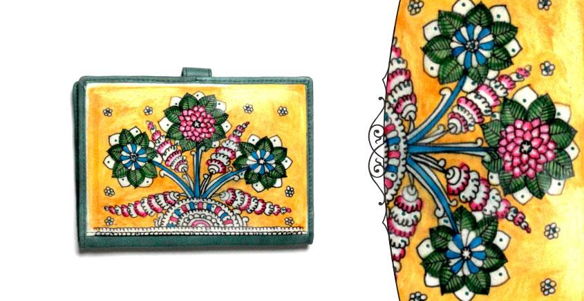 उपवन ~ Leather * Hand Painted { Passport wallet-Mrinal Bahar } - 4