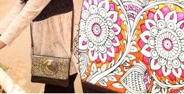 उपवन ~ Leather * Hand Painted {Clutch,Genda Bagh} - 2