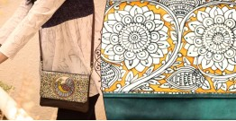 उपवन ~ Leather * Hand Painted {Clutch,Genda Bagh} - 1