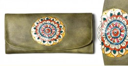 उपवन ~ Leather * Hand Painted { WALLET, Pusph Matsya} - 3