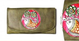 उपवन ~ Leather * Hand Painted { WALLET, Pusph Matsya}