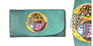 उपवन ~ Leather * Hand Painted { WALLET, Pusph Matsya} - 2