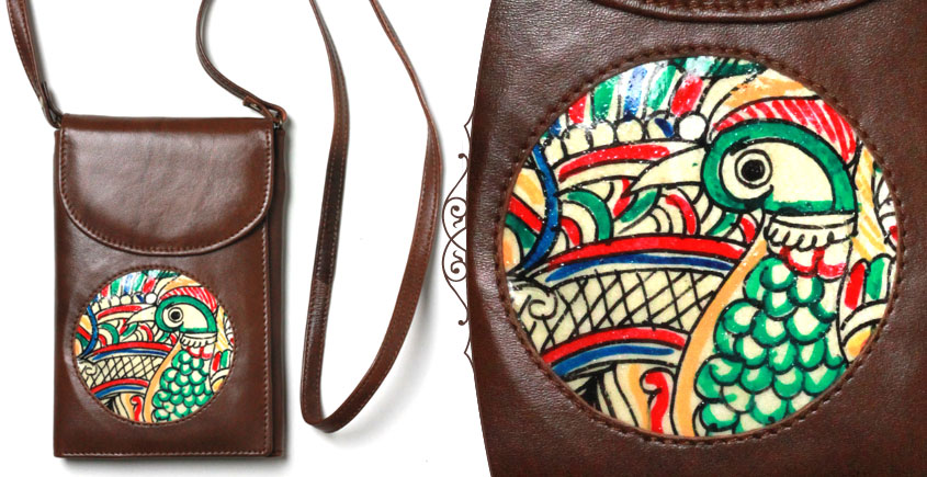 उपवन ~ Leather * Hand Painted { Wallet  Pushp Kendra } - 6