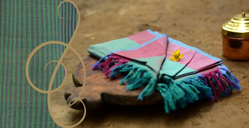 Terrain of Flowerbeds ~ Maheshwari Stole ( 12 )