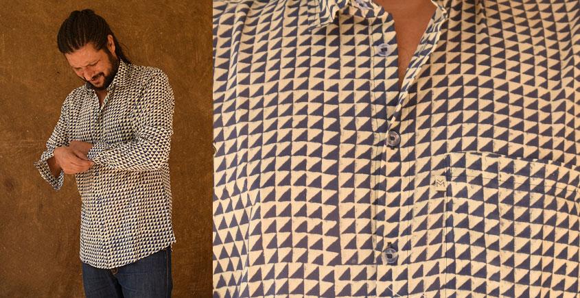 रंगरेज / Rangrez ❂ Block Printed . Fine Cotton Shirt ❂ 23