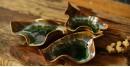 Ochre ~ Ceramic Leafs (Set of Three - Brown & Green)