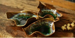 Ochre ~ Ceramic Leafs (Set of Three - Brown & Green)