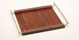 Organic Connect ❉ Shisham Wood . Brass Tray ❉ 21