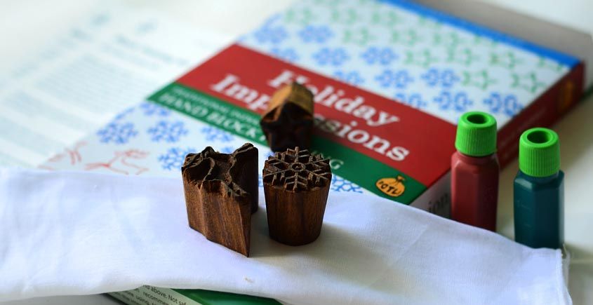 Potli ~ D.I.Y Kit  (Block Printing -  Holiday Impressions )
