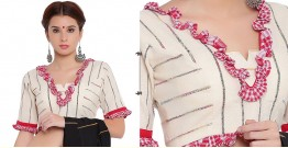खेस ✥ Bengali traditional blouse in white khesh with gamcha frills ✥ 1