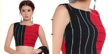 खेस ✥ Black and red panel sleeveless blouse ✥ 3