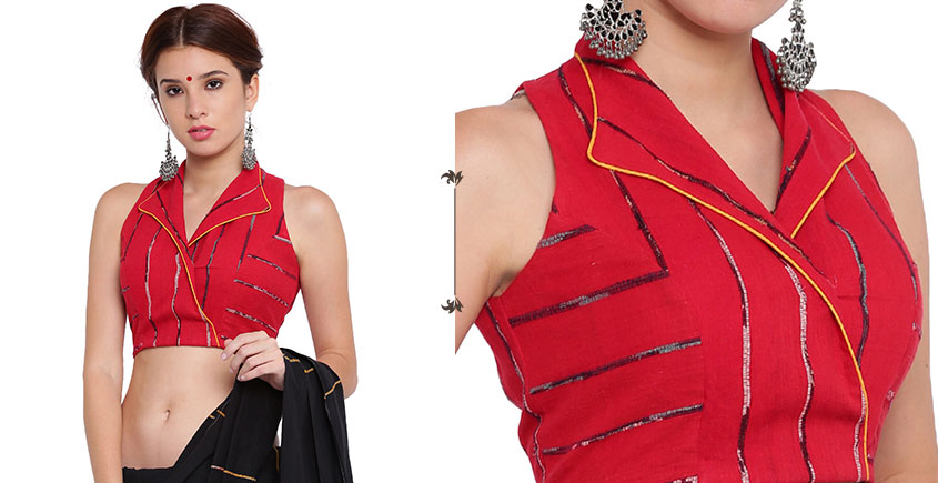 खेस ✥ Red khesh overlap blouse with jacket collar ✥ 4