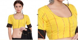 खेस ✥ Yellow khesh blouse with black khesh sleeves border ✥ 6
