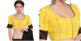 खेस ✥ Yellow khesh blouse with black khesh sleeves border ✥ 6