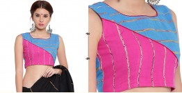 खेस ✥ Pink and blue khesh contemporary blouse with red piping ✥ 7