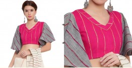 खेस ✥ Pink khesh blouse with grey khesh umbrella sleeves ✥ 8
