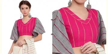 खेस ✥ Pink khesh blouse with grey khesh umbrella sleeves ✥ 8