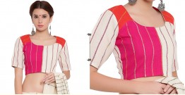 खेस ✥ Three panel blouse in white, pink and orange khesh ✥ 9